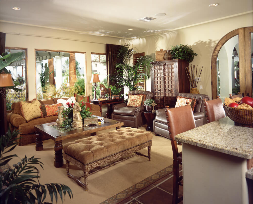 Luxurious living room awash in multiple exotic textures - Ottoman coffee tables living room ...