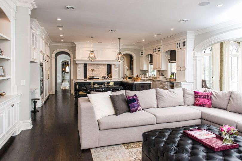 Ornate Open White Space Shares Kitchen And Living Room