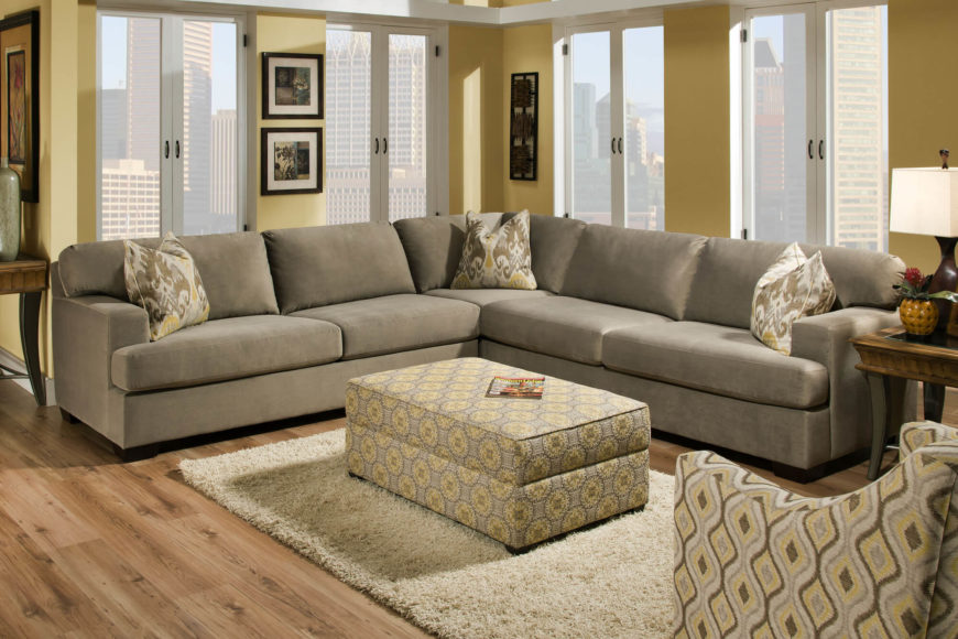 Soft Grey Fabric Sectional Sofa