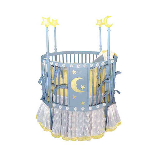 Blue finished round crib design in Ramin hardwood features stars and moon design on center panel, with four raised posts holding lit-up stars and moon of their own. 4 position adjustable height mattress and non-drop side ensures adaptation and safety for growing baby.