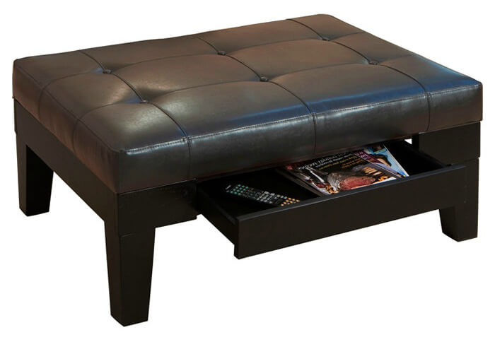 Dark wood and bonded leather storage ottoman from dCOR features hidden slide-out drawer over tapered natural wood legs.