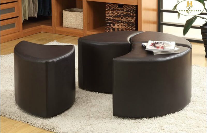 Homelegance presents this 4 piece ottoman in interlocking shapes, creating a singular round cushion or individual angular ottomans. Casters provide moment ease.