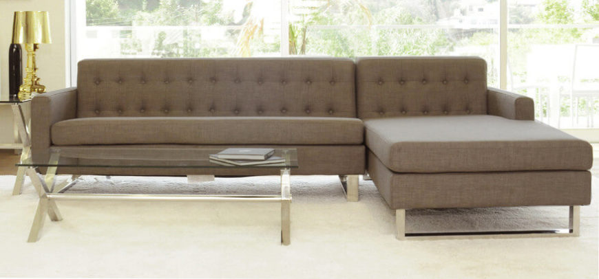 Brown Fabric Right Facing Sectional