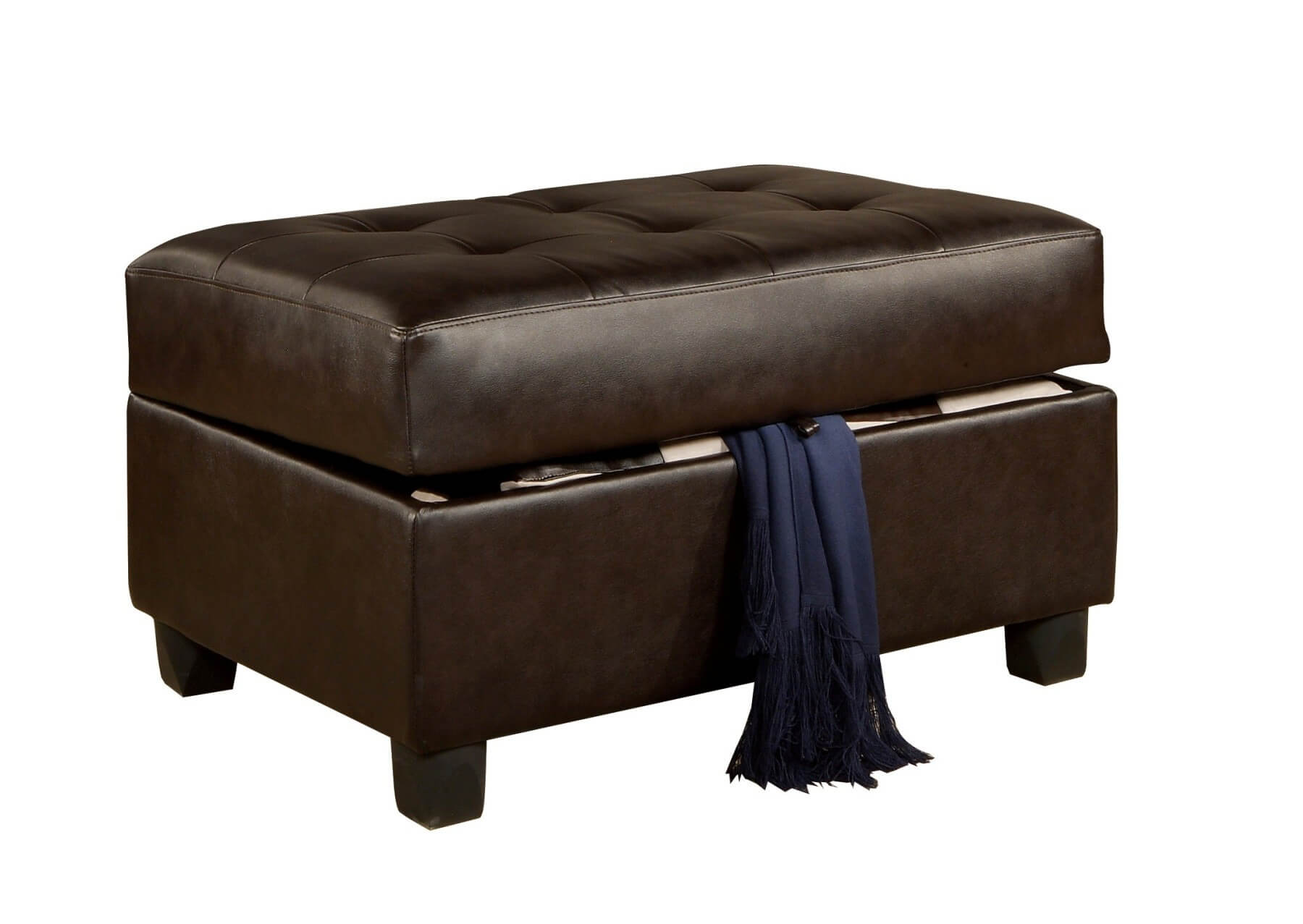 This dark bonded leather ottoman from Poundex features large button tufted cushion concealing hatch for interior storage and dark wood legs.