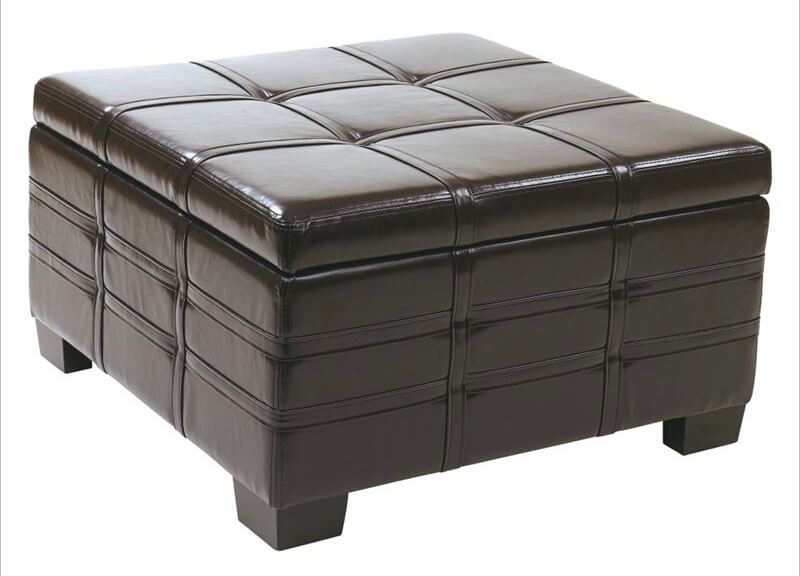Hinged Eco leather ottoman from Avenue Six features hinged top with interior storage and sliding tray table concealed within.