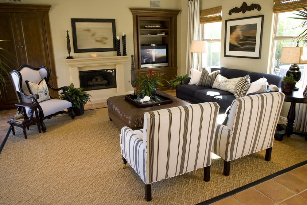 Traditional Living Room Set Up With Striped Twin