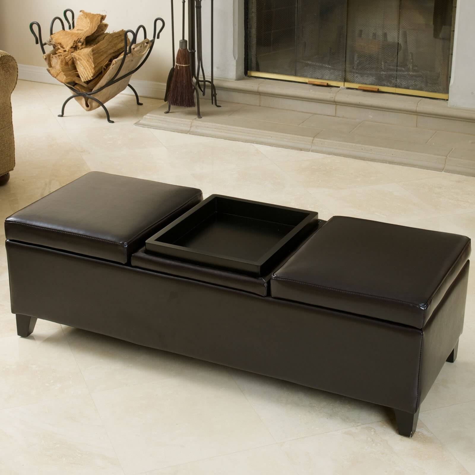 Footstool Coffee Table Tray: 36 Top Brown Leather Ottoman Coffee Tables