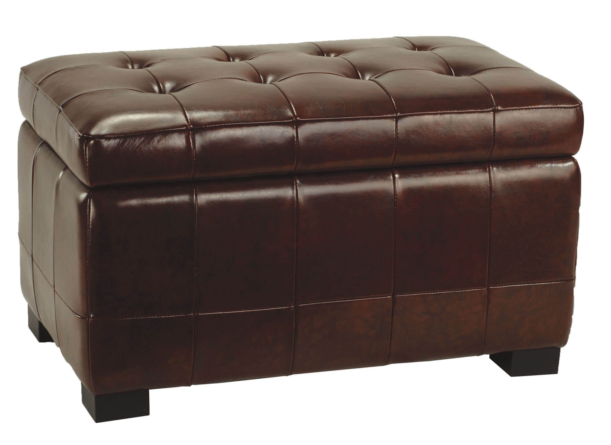 Large beechwood ottoman from Safavieh is clad in leather and features hinged cushion lid for storage access.