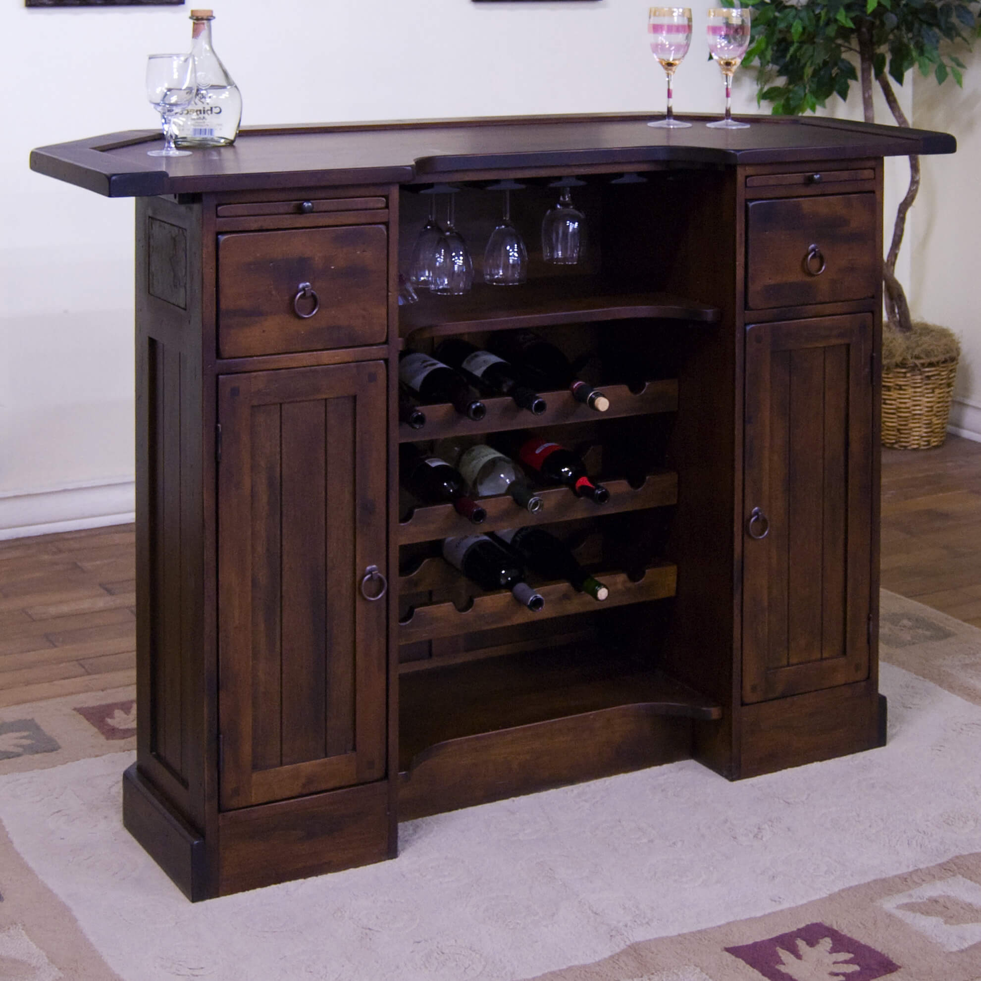 Back end view - This Birch wood bar is a one-level unit with a 15 bottle wine rack and closed storage.