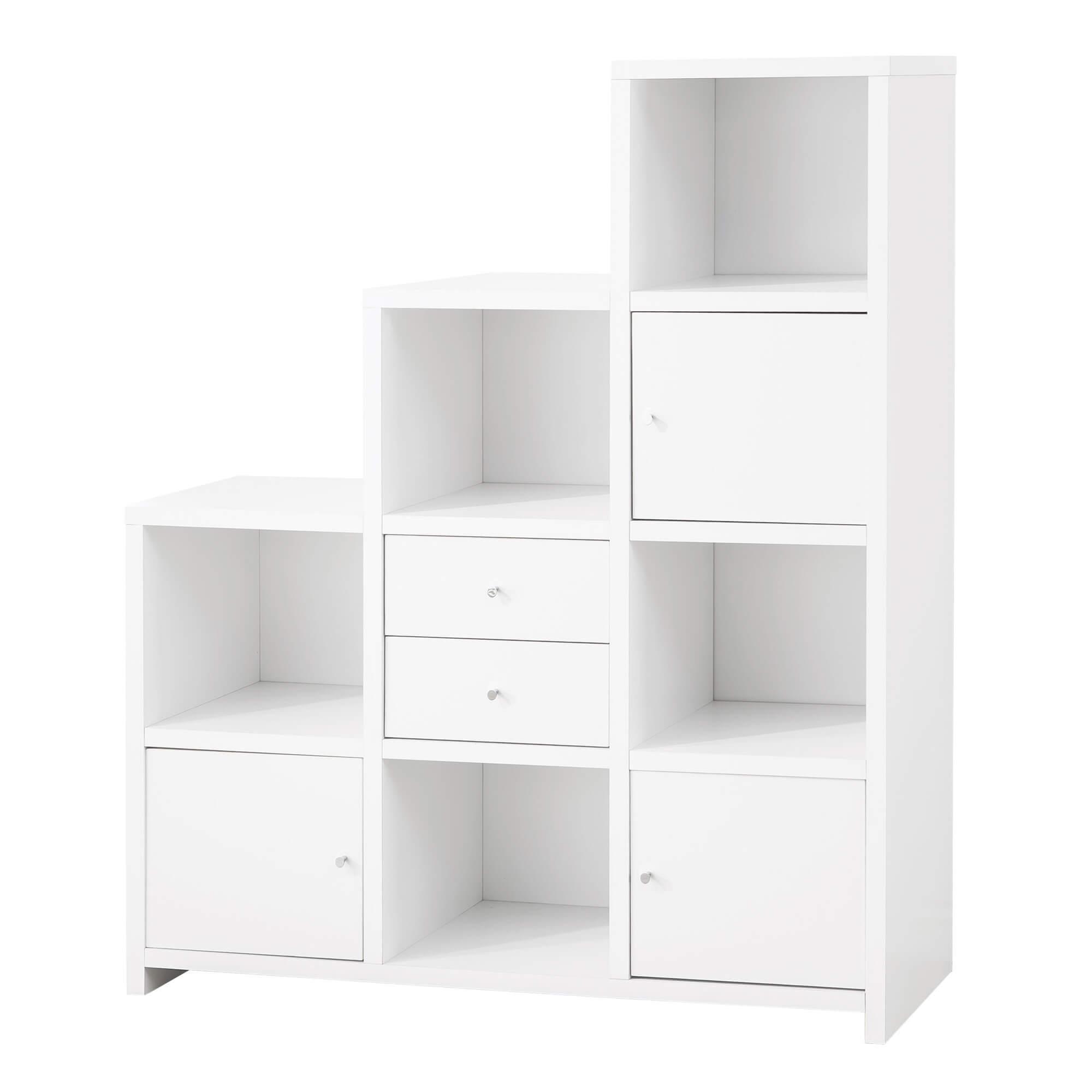 Here's a white 9-cube escalating bookshelf.