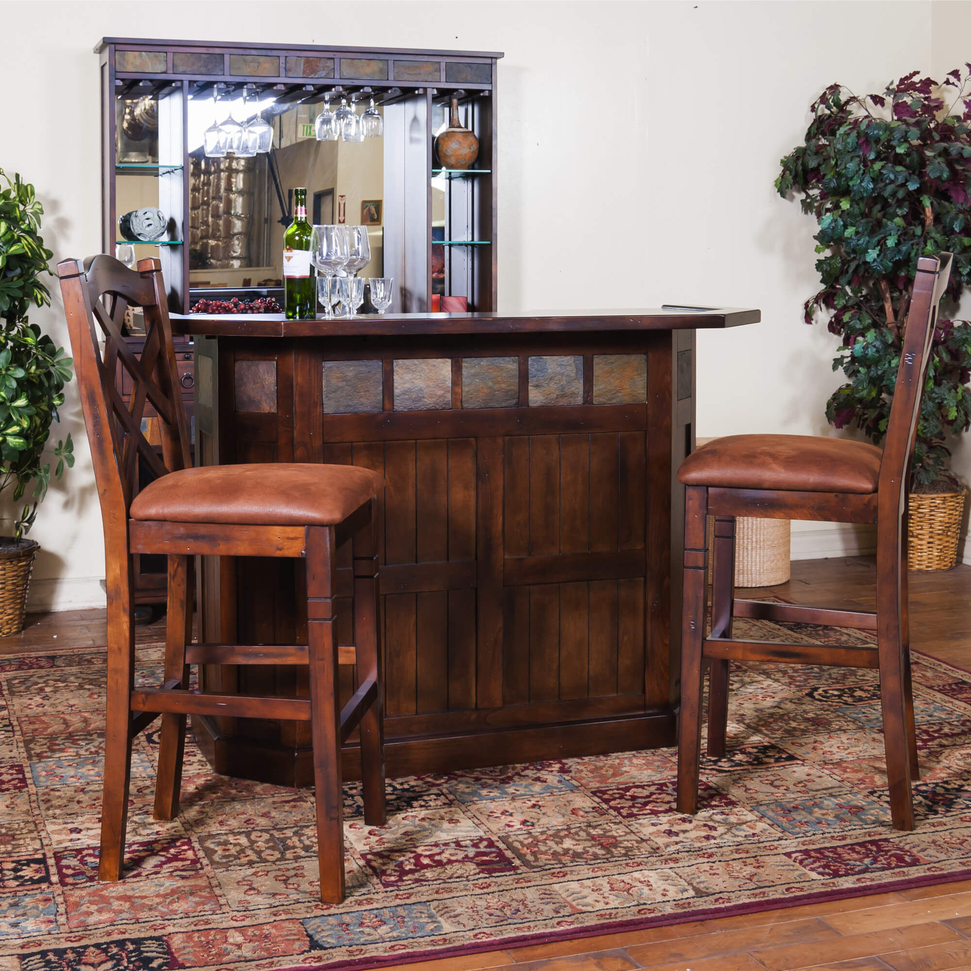 This Birch wood bar is a one-level unit with a 15 bottle wine rack and closed storage.
