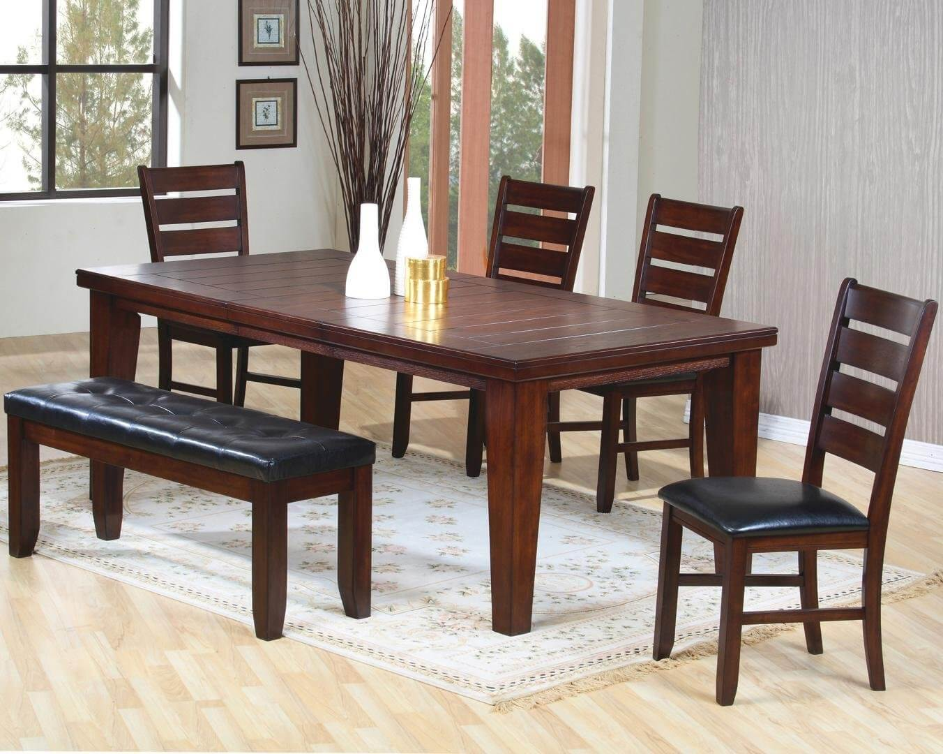 Solid wood six piece dining set with cushioned bench. The finish is dark oak wood veneer. The table is sturdy with 4 solid wood legs (along with the bench). I like the size of this table because it very comfortably accommodates six people.