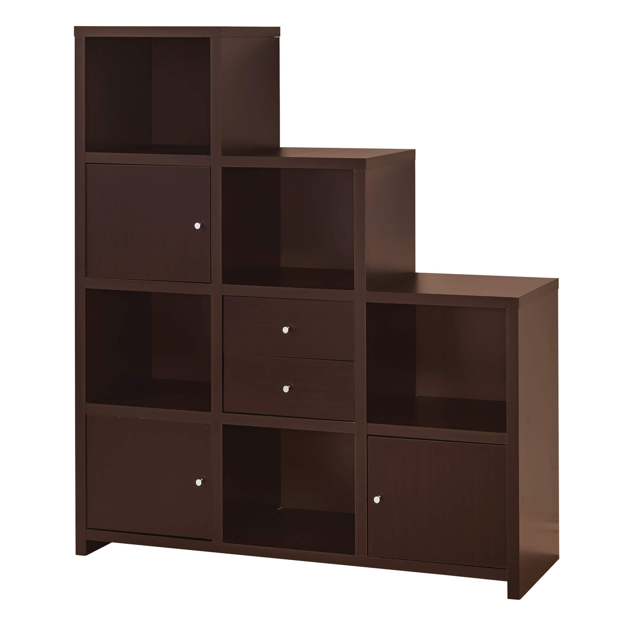 """Here's a dark brown staircase style cube shelving unit. Additional feature includes small doors on some of the cube sections in a checkered pattern. The """"staircase"""" style configuration leaves space above a portion of the shelving unit in which you can place photographs, prints or other art."""