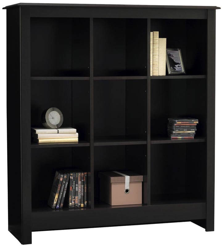 This is a decorative, symmetrical 9-cube bookshelf with a stylish top.