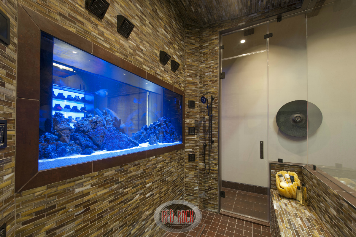 Close up of the aquarium that serves as a divider between the primary bath and the walk-in closet.