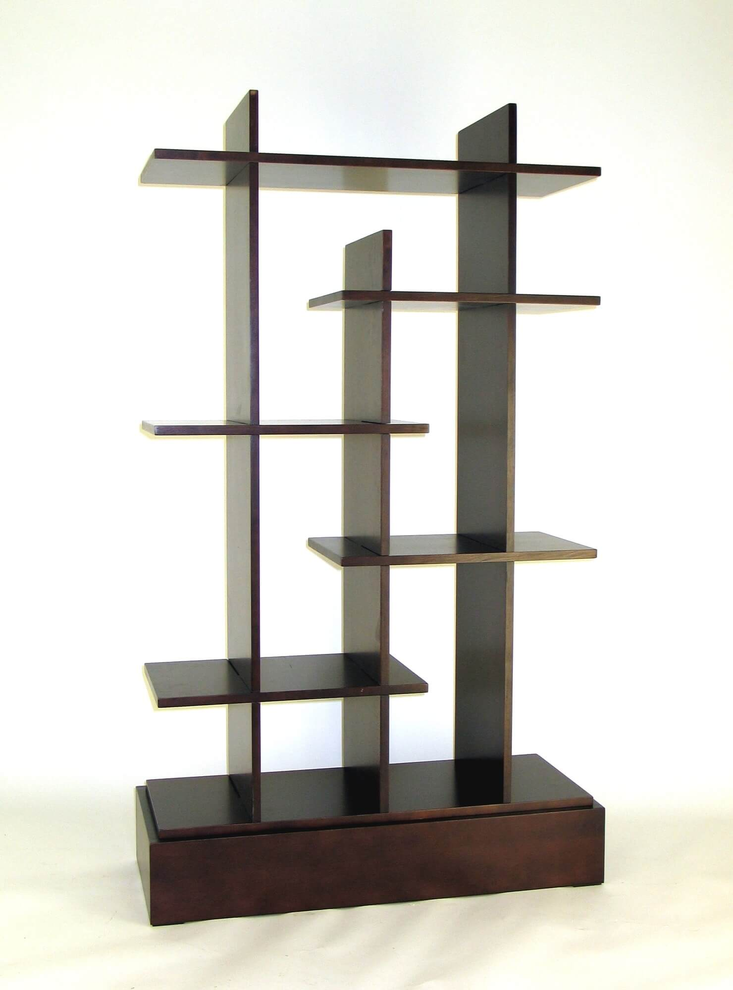 Here's a modern simple backless 6-cube shelf that looks great in a mid-century room or a contemporary room with plenty of wood.