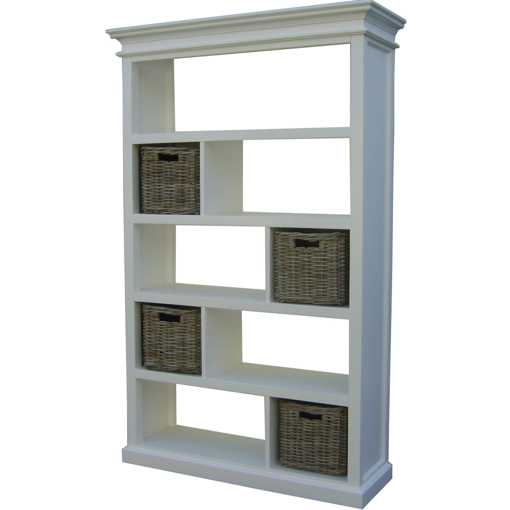 This white 9-cube shelf is staggered in it's configuration of wide and narrow cube sections... each subsequent shelf is inverted from the one below and above creating a pleasing storage pattern.