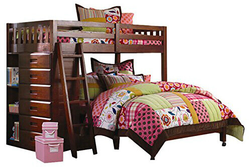 The bottom bed is a full bed with a twin sized on top. The base for each bed includes a slat kit so it's ready for your mattresses. One side includes open shelving and 6 roller dresser drawers. Easy access to the top bunk with a leaning ladder. Upper bunk includes wrap-around railing to help prevent falling out out of the bed.