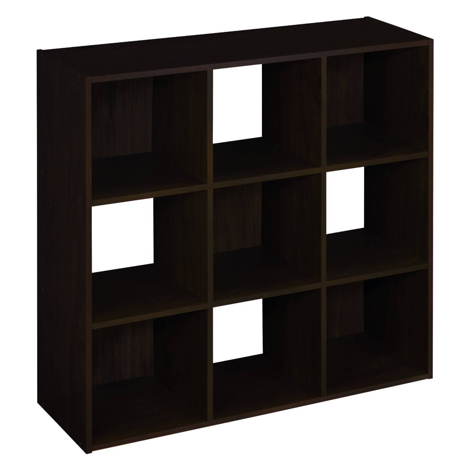 Here's another simple 9-cube shelf with checkered pattern achieved with alternating which sections have a back.
