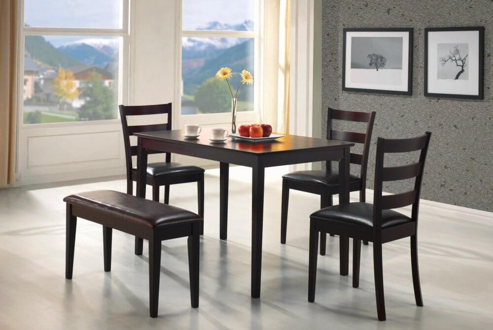 Perfect for an apartment or small dining room, this five piece bench dining set is simple in design and construction. It's an enormously popular model with hundreds of customer reviews. FYI - reviews are mixed, but over all average rating is 3.7 out of 5.