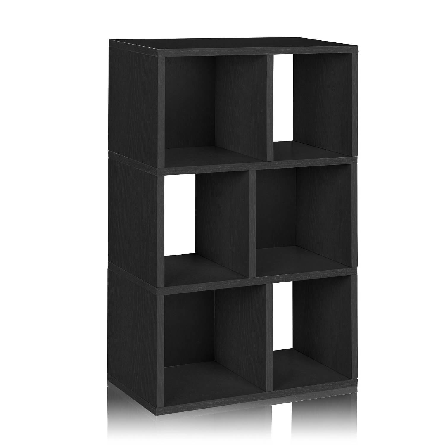 This is a simple checkered style 6-cube shelving unit standing 36.8 inches tall and is 22.8 inches wide.