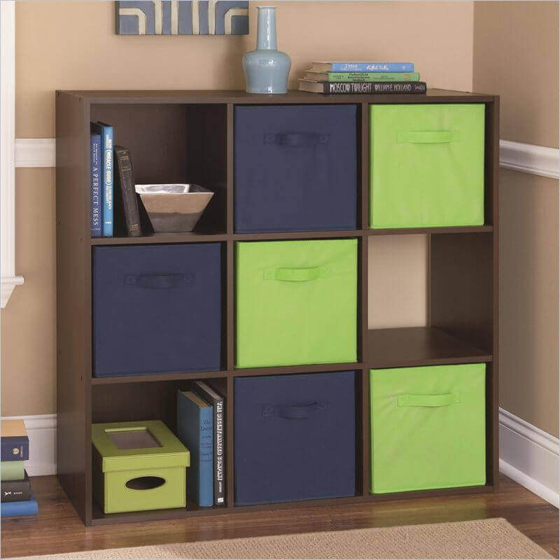 This is a whimsical 9-cube shelf design with soft drawer inserts. Using two colors for the drawer inserts, this unit creates a colorful checkered pattern.