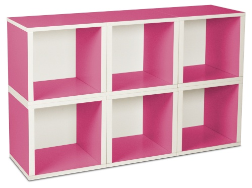 Here's a 6-cube shelf that uses the color design to emphasize the cube design creating an enhanced 3-dimensional cube look. Moreover, the cubes are modular so you can arrange them any way that works for you (and that stands).