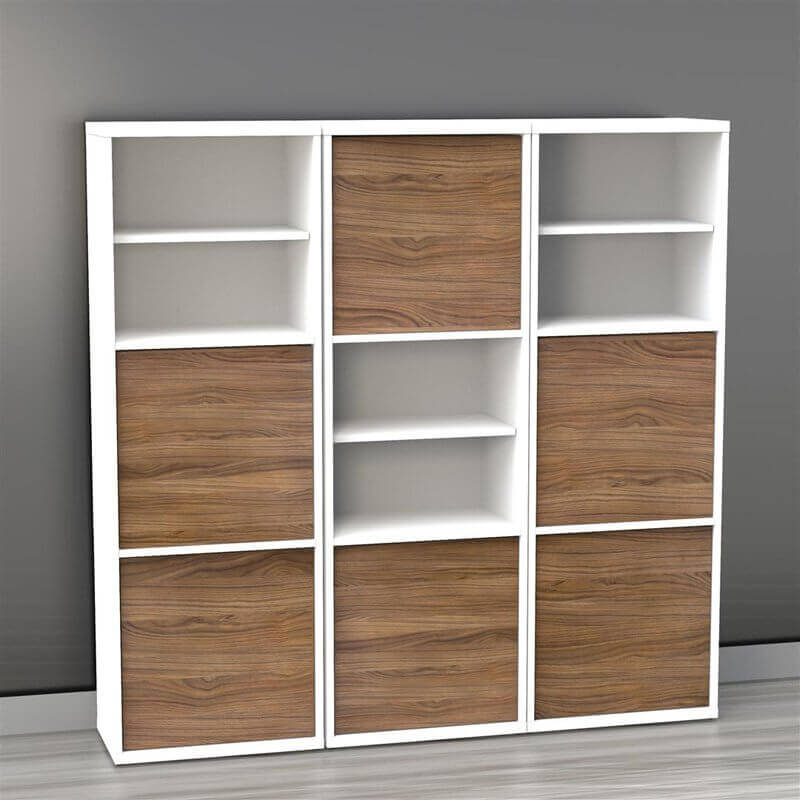 This is a very simple 9-cube shelving unit. However, some of the cube sections include an additional shelf for more shelves and storage.