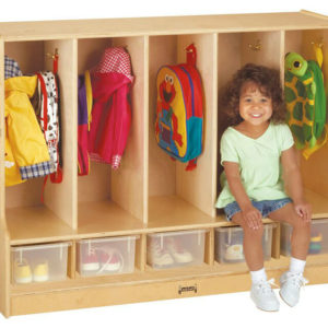 Wooden mudroom locker with 5 sections and shoe storage.