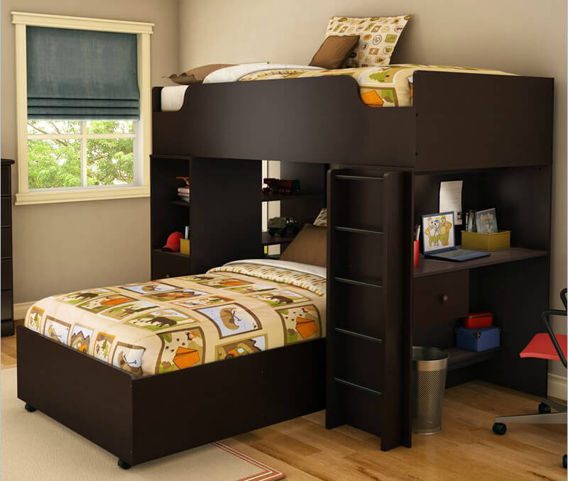 Here's a dark color design for a space saving bunk bed (twin over twin) with a vertical ladder, desk, and open shelving.