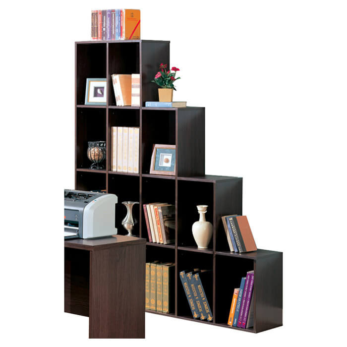 This is a symmetric 16-cube storage unit. Each section is the same size. This type is great for mixing and matching sections to create a wall of cube shelves perfect for books and as you can see small vases and other decorative items.