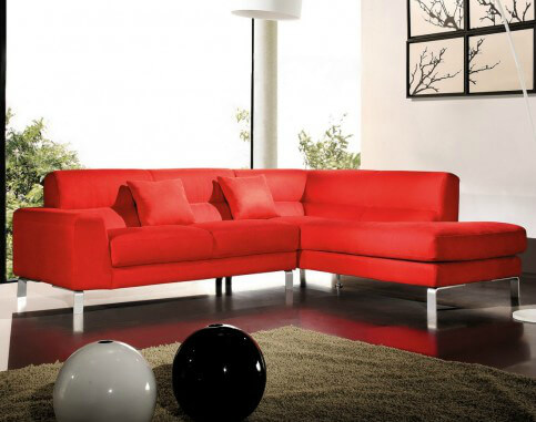 Here's a smaller red microfiber sectional sofa with chrome legs. This is a great sectional for smaller spaces. Moreover, it's a decently formal design that would work in a living room.