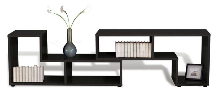 Here's a horizontally oriented cube shelf with an asymmetric design (differently shaped sections). The long configuration creates a great top surface for plants, lighting and other implements you wish placed at waist level in your room.