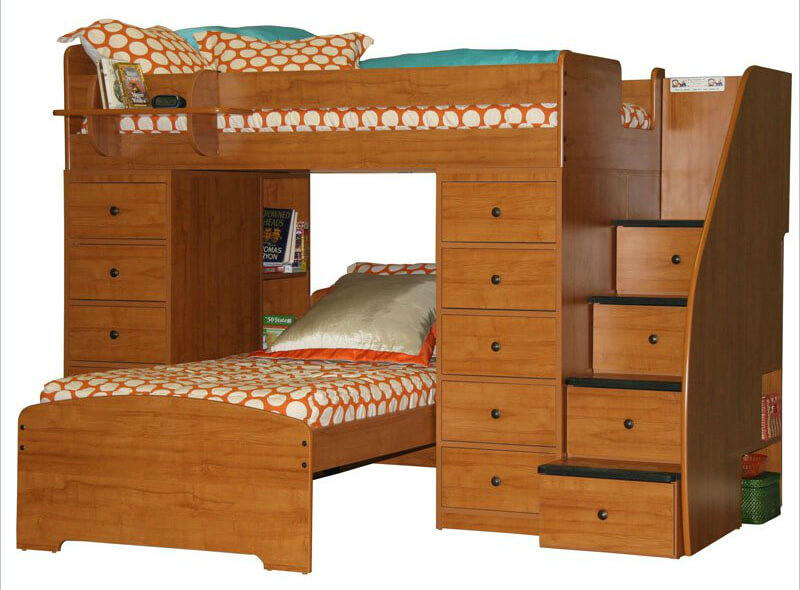 Space saving L-shaped bunk that's a twin over twin design with stairs and plenty of drawer space for storage. Rounded corners are used for additional safety.