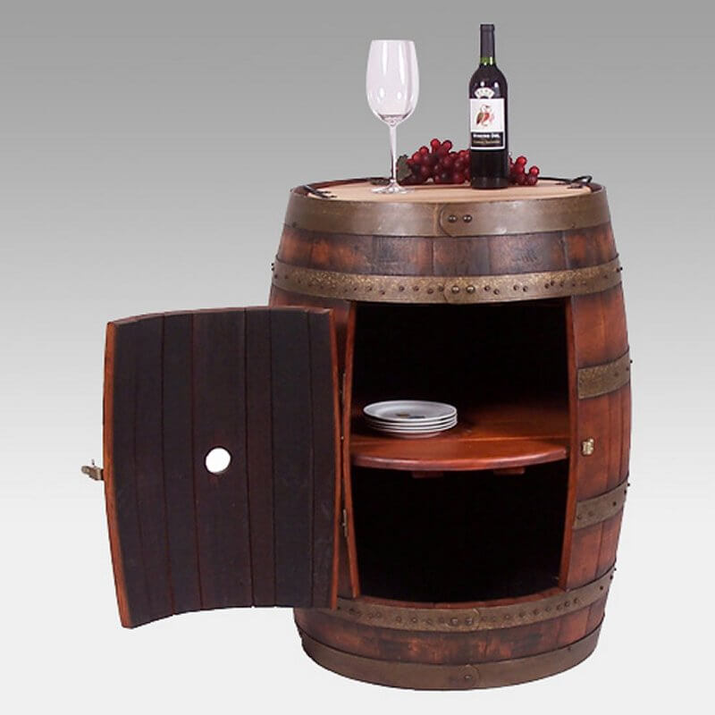 """Here's a fun """"barrel bar"""" unit that's perfect for a wine cellar tasting room, rustic family room or finished basement."""