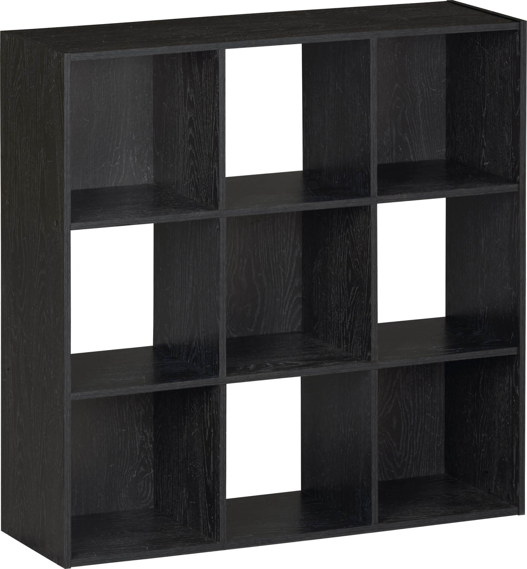 This is a very standard checkered style 9-cube shelf in black.