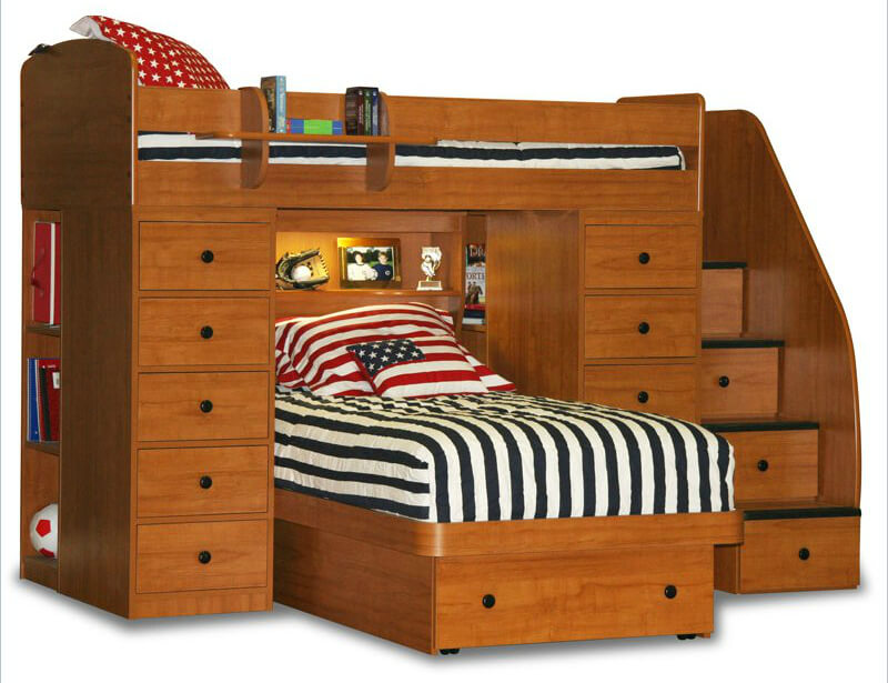 No shortage of storage with this twin over twin unit. It includes storage stairs, two sets of full height drawers, open shelving and one smart shelf floating off the guard rail for the upper bunk serving as a small night stand.