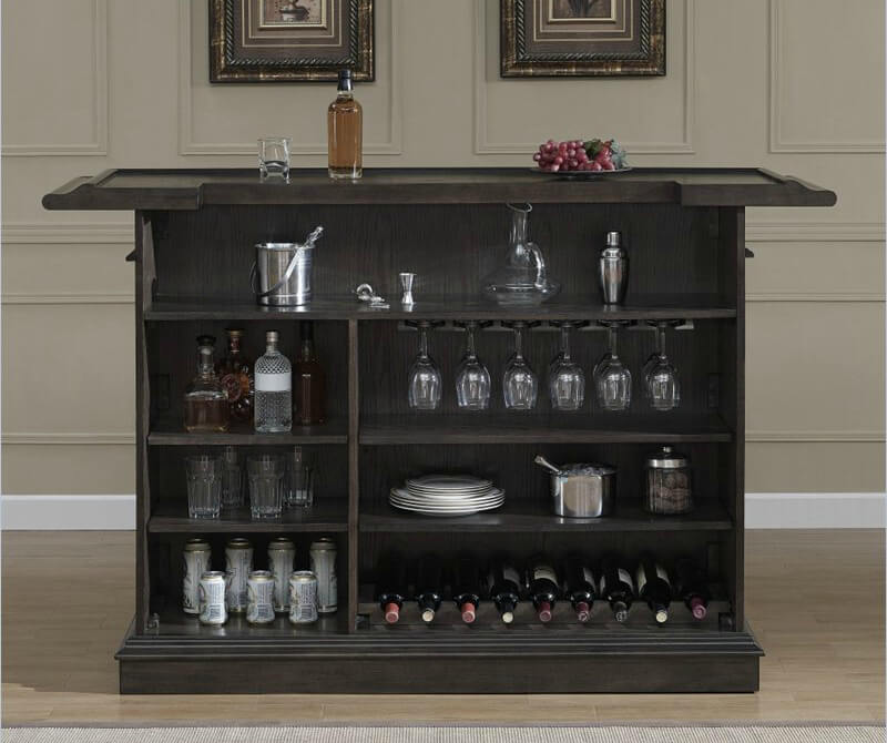 Behind the bar are 4 levels of open shelving for easy access; however, because it's open, it's not a locking unit. The front of the unit offers an elevated bar counter in front of which you can easily accommodate two or three bar stools.