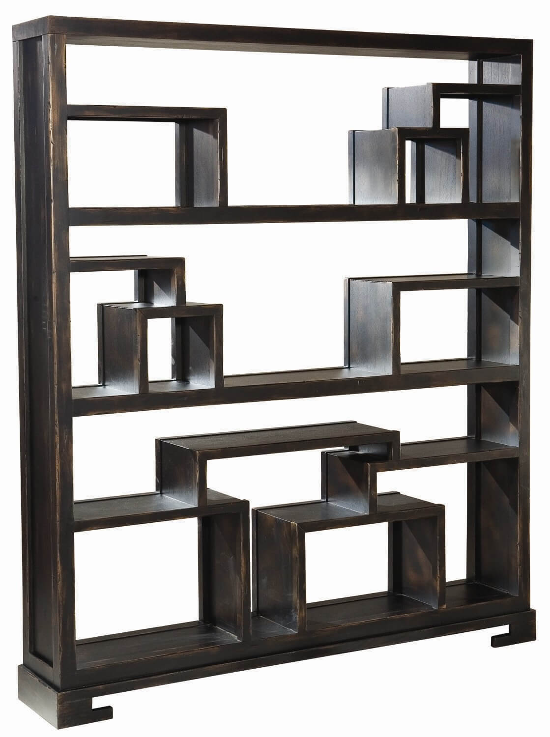 This is an intricate 12-cube backless shelf with many sections - each a different shape and size.