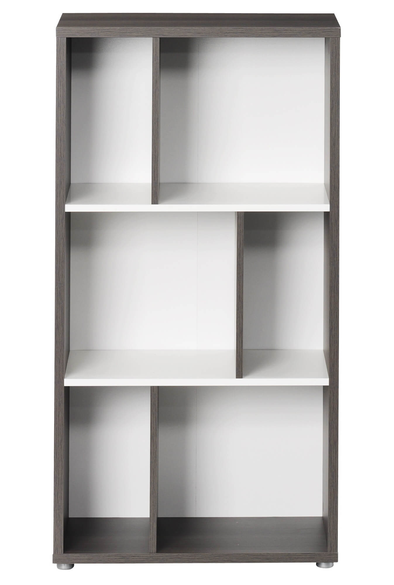 This is a taller than usual 6 cube shelving unit with large/tall storage sections. The entire unit includes a back.