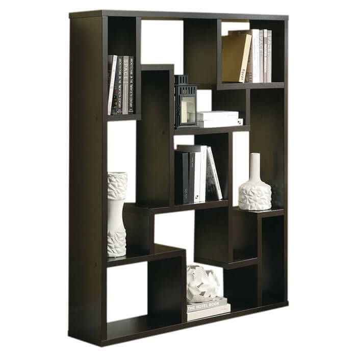 This is another decorative modern 9-cube shelving unit where each section is a different size and shape.