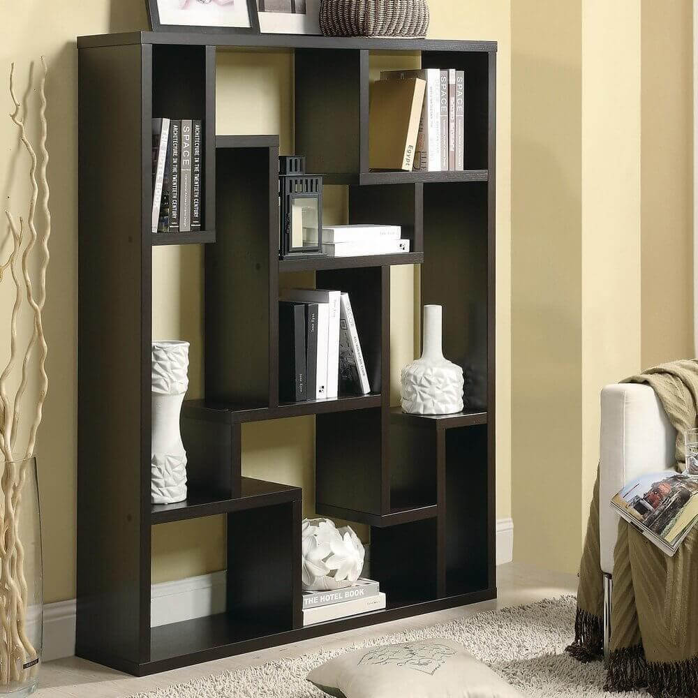 This is another substantial backless 9-cube asymmetric book shelf in a cube design with differently shaped and sized shelving sections.