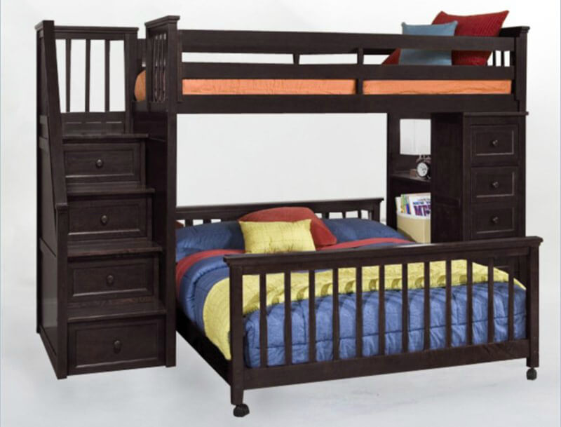 This hardwood L-shaped bunk bed is in a contemporary design with a twin over full. Stairs provide access to the upper bunk. Additional drawers included on the other side.