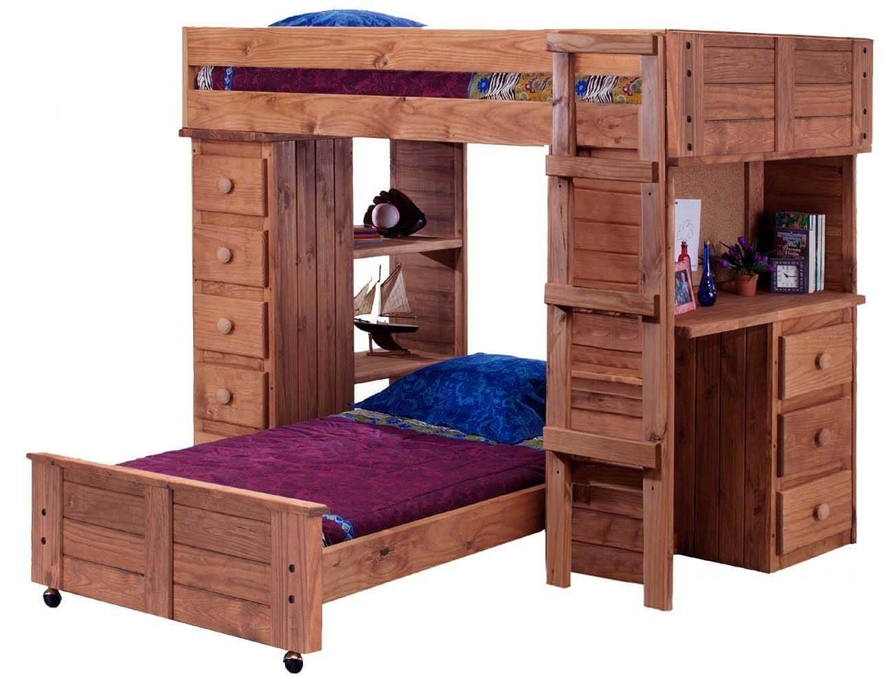 The arrangement and features of this unit is very similar to others - desk, twin-over-twin, drawers, open shelving and lower bed on wheels. The ladder in this model is straight-up-and-down instead of leaning.