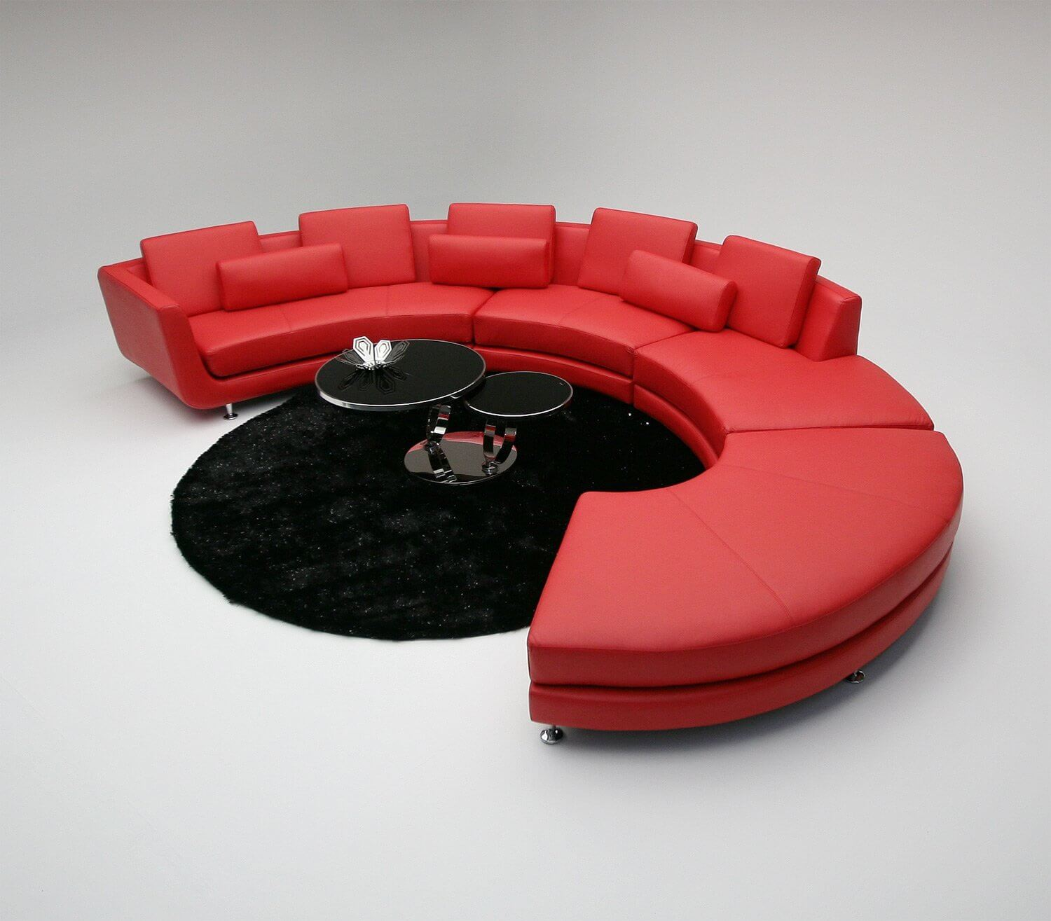 For those of you who like the round/curved sectional styles, this one is for you. It definitely makes a statement. While round sofas aren't always a good fit in a square or rectangle room, if you have a large great room, this sofa will work in the middle of the space.