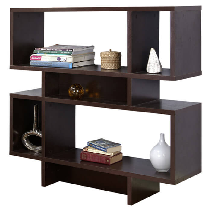 This 6-cube chocolate brown wood cube shelf is two-series of three cubes stacked on top of one another.