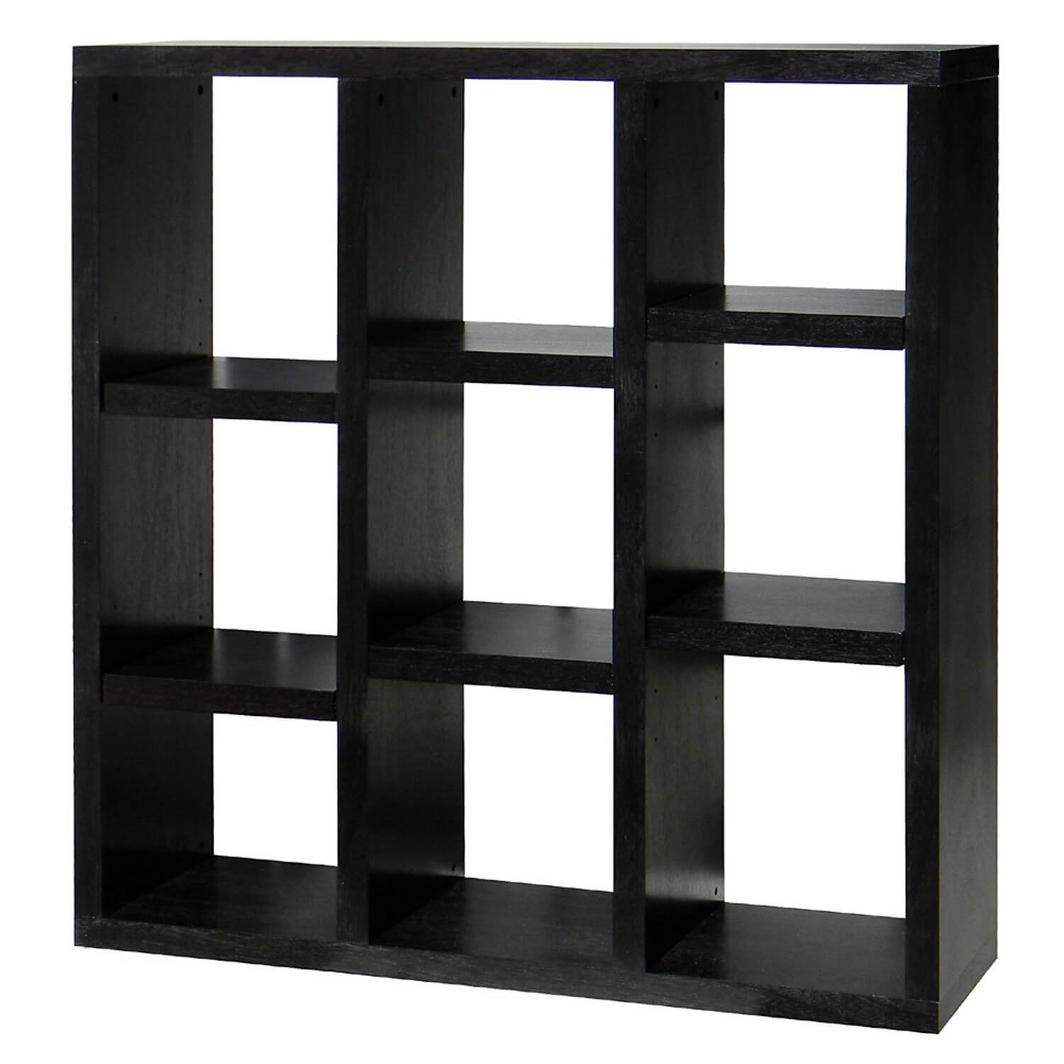 Here's an interesting 9-cube shelf with a staircase style pattern achieved with the shelves themselves.