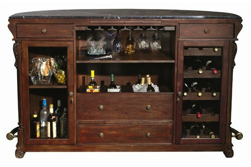 Rear view - This is really a classic semi- circle wine bar unit with a 12 bottle wine rack and glass stem rack as well as plenty of bottle and accessory storage including a pull-out shelf.