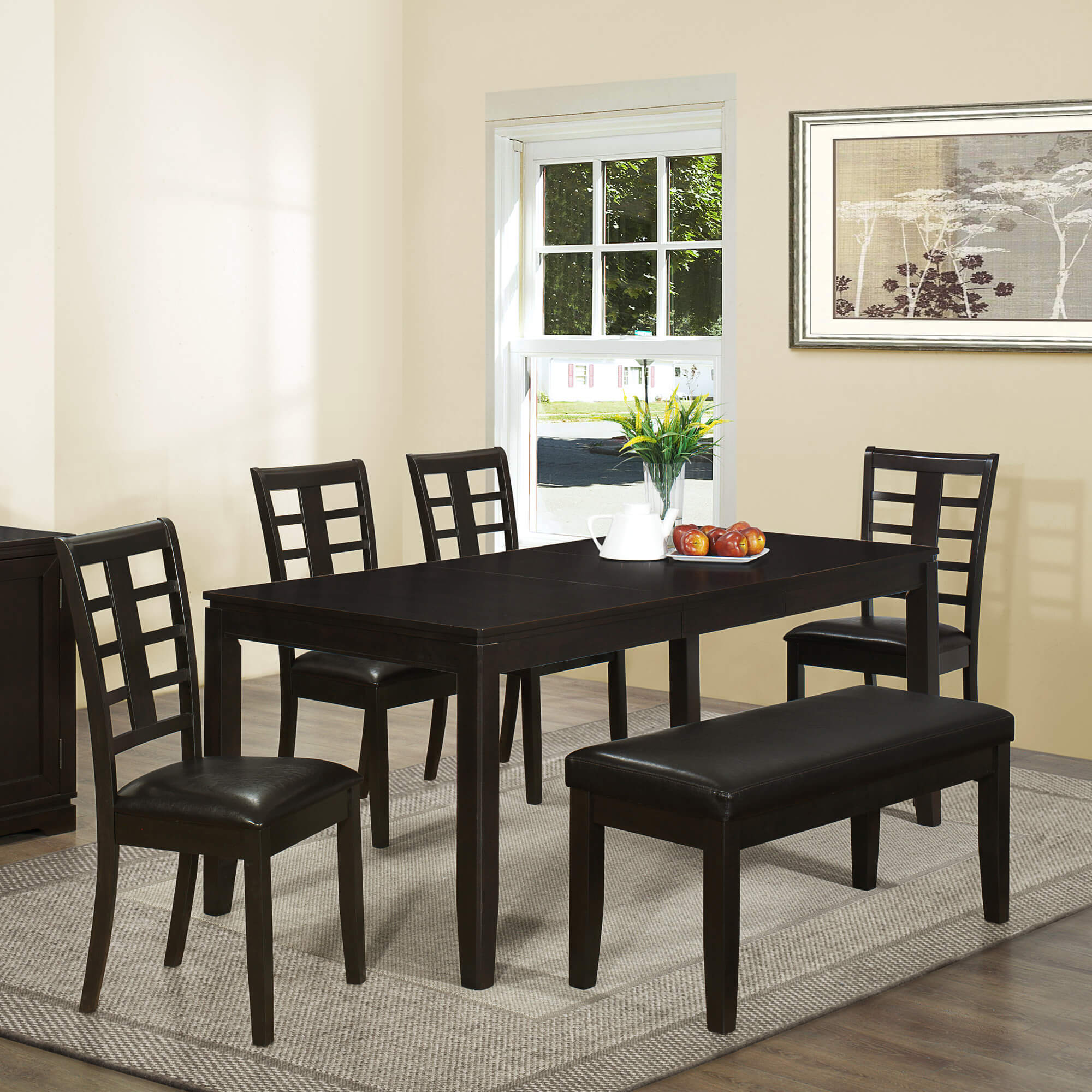 Contemporary Asian-inspired dining set with bench is a good size being able to accommodate 6 people; however, this table is fairly narrow which is great for smaller dining spaces (offering space for people getting in and out).