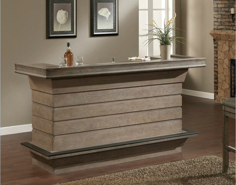 A solid unit with plenty of bottle storage, ice bucket built into the behind-the-bar countertop and easy-glide drawers.